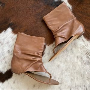 ASH Brown Leather Scrunch Pull On Sandals 8
